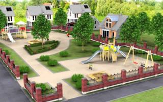 На каком расстоянии от забора частного дома может администрация города установить детскую площадку