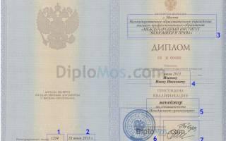 Номер диплома и приложения к диплому разные